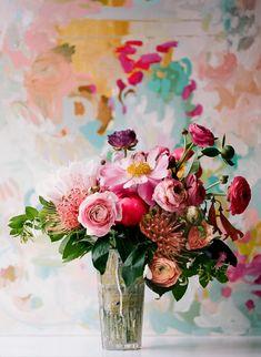 pink + peach flower arrangement