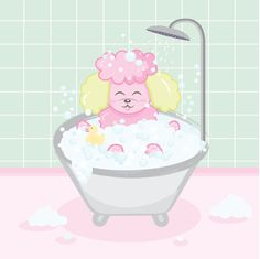 Tulip, my Poodle loves relaxing in her bathtub! Vector art ( Instagram: @szanilee )