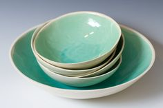 Large Turquoise and White Ceramic  Pottery Bowl for Serving, Fruit or Display 9 3/4 inches