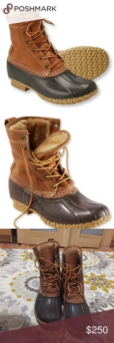L.L. Bean Boots Shearling Lined Worn once! Women's size 7. Moving to warmer weather so don't need them anymore but they are in great condition. Willing to negotiate price ☺ L.L. Bean Shoes Winter & Rain Boots