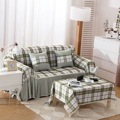 SunnyRain Polyester Plaid Green I Shaped Sofa Cover Sectional Sofa Covers Slipcover Couch Cover Chaise Longue Table Cloth Plaid Couch, L Shaped Sofa, Couch Covers, Home Textile, Sectional Sofa, Slipcovers, Home And Garden, Pillows, Christmas Poster