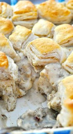Biscuits and Gravy Casserole. I double the gravy recipe, then save half to add on for extra when serving!
