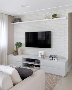 Home Living Room, Apartment Living, Living Room Decor, White Apartment, Decor Room, Small Living Rooms, Home Room Design, Interior Design Living Room, Living Room Tv Unit Designs