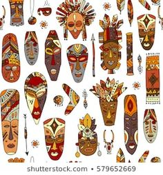 Find Tribal Mask Ethnic Seamless Pattern Sketch stock images in HD and millions of other royalty-free stock photos, illustrations and vectors in the Shutterstock collection. Tiki Tattoo, Kalender Design, Tiki Head, Mask Drawing, Pattern Sketch, Recycled Art Projects, Tiki Mask, 6th Grade Art, Africa Art