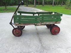 Antique Wood Pull Wagon Red, Green, White W DOUBLE Rear Wheels, Side Slats