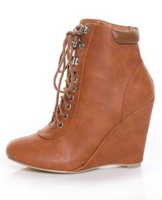 Privileged Ally Chestnut Lace-Up Asphalt Hiker Wedge Booties  $52.00