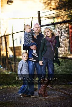 "Family that can match without ""matching"" This is a great styling example for a family shoot in the colder months, the greys and blacks and denim work really well here."