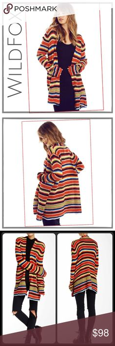 "✨WildFox Mexican Blanket Cardigan✨ ✨WildFox White Label Beautiful And So Vibrant Mexican Blanket Cardigan✨Soft and Cozy As They Come, But Light and Not Heavy✨Open Front And Roomy✨100% Acrylic✨Beautiful Stripes That Compliment Anything✨Approx 32"" Long✨NWT✨ Wildfox Sweaters Cardigans"
