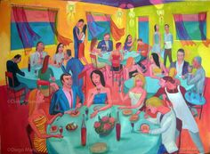"""Reunion social 7"", acrylic on canvas, 130 x 95 cm. 2010 Price of original painting: inquire"