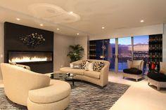 Highrise luxury condo, living room design ideas, city view, penthouse, luxury loft, sunset view