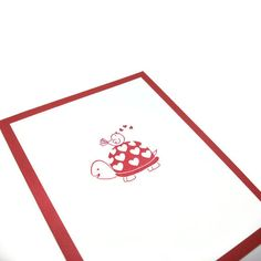 Valentine Card Turtle And Love Bird White And Cranberry Red. $3.00, via Etsy.