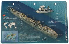 """This 5-1/2"""" x 8-1/2"""" card provides a detailed diagram of the Fumitsuki Destroyer in Truk Lagoon, Micronesia (a.k.a. Chuuk Lagoon). Art To Media is known for its expertise and extensive experience in 3"""