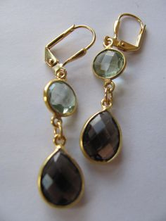 green amethyst (prasiolite) and smoky quartz drop earrings from RubyRoydJewelry.etsy.com.  I love her stuff. And she's based in Pittsburgh!