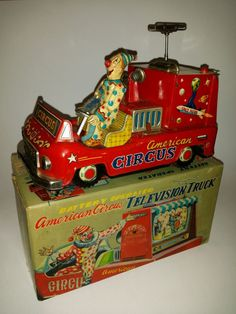 Rare Exelo American Circus Clown Bus. Battery Operated Tin Lithograph toy.
