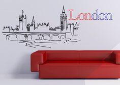 Londres Skyline Wall Decal - sticker vinyle - vinyle Wall Decal par WallDecalSource sur Etsy https://www.etsy.com/fr/listing/111109292/londres-skyline-wall-decal-sticker