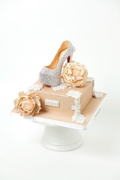 Christian Louboutin Daffodile Pump - Gumpaste Christian Louboutin High Heel adorned in swarovski crystals and  antique cream peonies