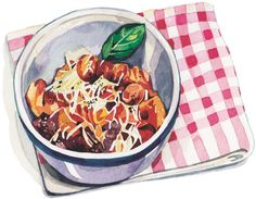 ragu illustration watercolour pasta napkin