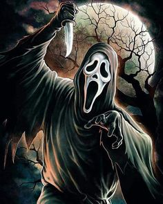 "Horror Movie Art : Scream 1996 ""Ghostface"" by Coki Greenway Michael Myers, Freddy Krueger, Scary Wallpaper, Der Joker, The Killers, Scream Movie, Scream 3, Horror Artwork, Horror Movie Characters"