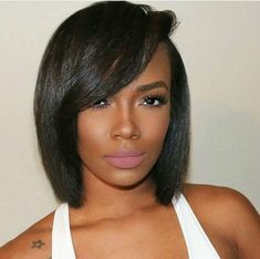 Bob wigs for black women human hair wigs lace front wigs african american women wigs black girl natural bob hairstyles - Black Haircut Styles Black Haircut Styles, Short Black Hairstyles, Hairstyles With Bangs, Trendy Hairstyles, Straight Hairstyles, Short Hair Styles, Hairstyles 2016, Short Haircuts, Ladies Hairstyles