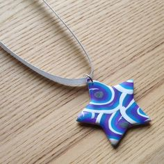 Funky Blue Star FIMO Polymer Clay Pendant £5.00