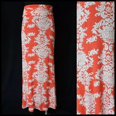 "Coral White Damask Stretch Maxi Skirt Dress Small Stretch Skirt/Dress  ‼️PRICE FIRM‼️   Super fun convertible piece.  Can be worn as a skirt or dress.  Beautiful bright coral color damask print. Lots and lots of stretch to this piece.    If worn as a skirt it can be worn high on the waist or low on the hip, it is completely up to you.  96% rayon & 4% spandex.  Super soft lightweight, comfortable fabric.  You will want to sleep in this skirt it is so comfortable.  Waist/Bust Size 26""-38""…"
