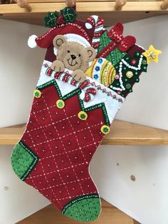 Bucilla Peek-A-Boo Teddy Finished Christmas stocking **** 2019 Pre-order **** Christmas Drawing, Felt Christmas, Christmas Stockings, Christmas Crafts, Christmas Ornaments, Christmas Ideas, Elf Christmas Decorations, Felt Stocking, Organza Gift Bags
