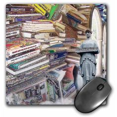 Stack of Books a digital collage of books and a greek statue Mouse Pad 8 inch x 8 inch x inch and is made of heavy-duty recycled rubber. Matte finish image will not fade or peel. Machine washable using a mild detergent and air dry. Size: 8 in. Recycled Rubber, Stack Of Books, Digital Collage, Walmart, Recycling, Greek, Statue, Funny, Decor