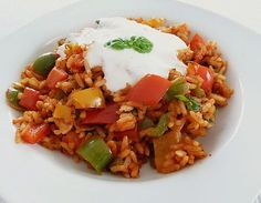 Paprika - Reispfanne mit Joghurtsauce