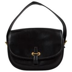 7a4cfda0c7f9 Hermes Black Box Leather Balle de Golf Flap Bag With Gold Hardware