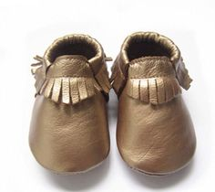 Genuine Leather Baby Moccasin Metallic Copper High by mintypinky, $24.99