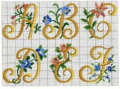 Para personalizar Towel Embroidery, Embroidery Alphabet, Embroidery Monogram, Embroidery Patterns, Cross Stitch Alphabet Patterns, Cross Stitch Letters, Cross Stitch Designs, Alphabet Charts, Cross Stitching