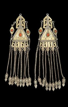 Iran - Golestan | Pair of temple ornaments ~ aviz esar ~ silver, partially gilded, glass. // ©Quai Branly Museum. 71.1967.111.47.1-2