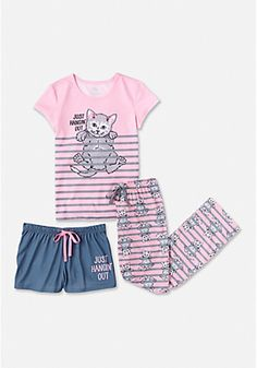 c239286767e1 Justice Girl s 3 Piece HANGING OUT Pajamas Sleep Set Size 16 18 NWT  Justice