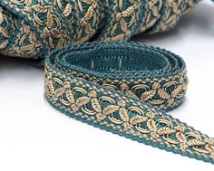Classic French vintage passementerie trim in blue and gold. Suitable for vintage and cottage chic home decor projects as chair upholstery, cushion trims, lampshades or curtain edging. This listing is for 1 meter - 3.3 feet Height 2 cm - 0.8 In very good new old stock condition. If You want