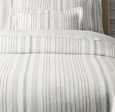 Restoration Hardware:  Italian Jacquard Stripe Linen Duvet Cover in Pacific blue