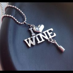 """""""I ❤️ Wine"""" Necklace New 18"""" Chain """"I ❤️ Wine"""" Necklace New 18"""" Chain~Antique Silver Metal Alloy~ Cute Jewelry Necklaces"""