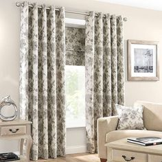 Printed with intricate floral flourishes in a jacquard weave design, these stone-coloured eyelet curtains are fully lined and available in a choice of sizes. Curtains Dunelm, Elizabeth Stone, Jacquard Weave, Boudoir, Master Bedroom, Lounge, Living Room, Color, Flourishes