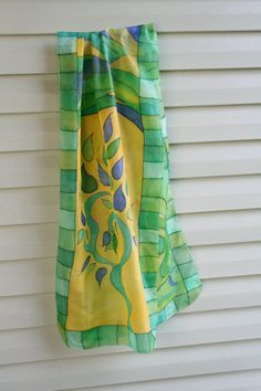 Silk scarf hand painted Leafs by ArtStudioInfinity on Etsy