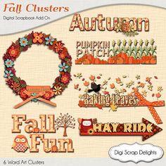 SALE 50% Off Store Wide!! Autumn Cluster Word Art  Fall Wreath Pumpkin, Owl, Pumpkin Patch, Corn Maze Hay Ride by DigiScrapDelights,