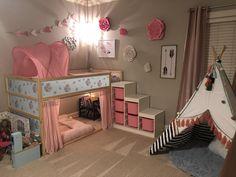 Kids Bedroom Designs, Kids Room Design, Bed Designs, Big Girl Bedrooms, Little Girl Rooms, Kura Cama Ikea, Kid Beds, Bunk Beds, Baby Room Decor