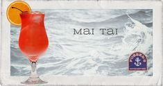 Mai Tai: An icy dark, flavourful rum and fresh lime juice drink with a subtle hint of oranges and almonds and a sprig of fresh mint for garnish.