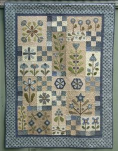 Flowerdale - by Gail Pan Designs -Stitchery Fabric Patchwork Quilting Moda Quilt Blue Quilts, Small Quilts, Mini Quilts, Patchwork Quilt Patterns, Applique Quilts, Quilting Patterns, Quilting Ideas, Patchwork Designs, Wool Applique