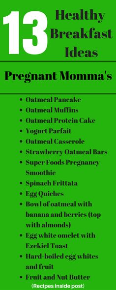 Tons of healthy breakfast ideas for a good pregnancy nutrition.  All easy and yummy recipes.