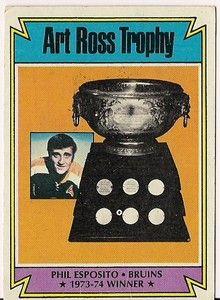 Own Esposito's last Art Ross Trophy hockey card - low opening bid on eBay!