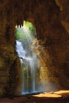 Waterfall and light rays....