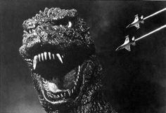 "Godzilla (1954) After its awakening ""Gojira"" embarks on its mad rampage of destruction toward Tokyo crushing ships, flattening villages, and demolishing buildings in its wake.  http://scififilmfiesta.blogspot.com.au/2013/12/godzilla-1954.html"