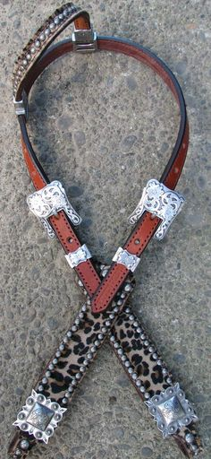 Haywire Cheetah Headstall with Antique Silver by Running Roan Tack