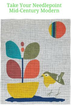 Mid century modern needlepoint of a bird in a garden. An easy to stitch DIY needlework project.