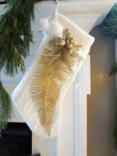 DIY Tutorial, Gold Feather Stocking, add a flocked gold feather and gold pick on white stocking, elegant mantle, easy craft, holiday gift, celebrate the....