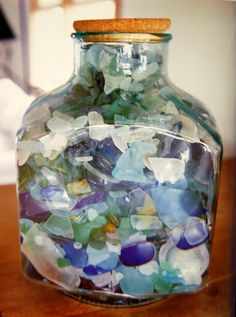 sea glass ceremony rarest of all is the color blue. The variety of sea glass represents , .but only now, have they found their soul mate, represented by the very rare blue sea glass that they alone have. Deco Marine, Sea Glass Beach, I Love The Beach, Beach Fun, Beach Crafts, Glass Collection, Collection Displays, Beach Cottages, Beach House Decor
